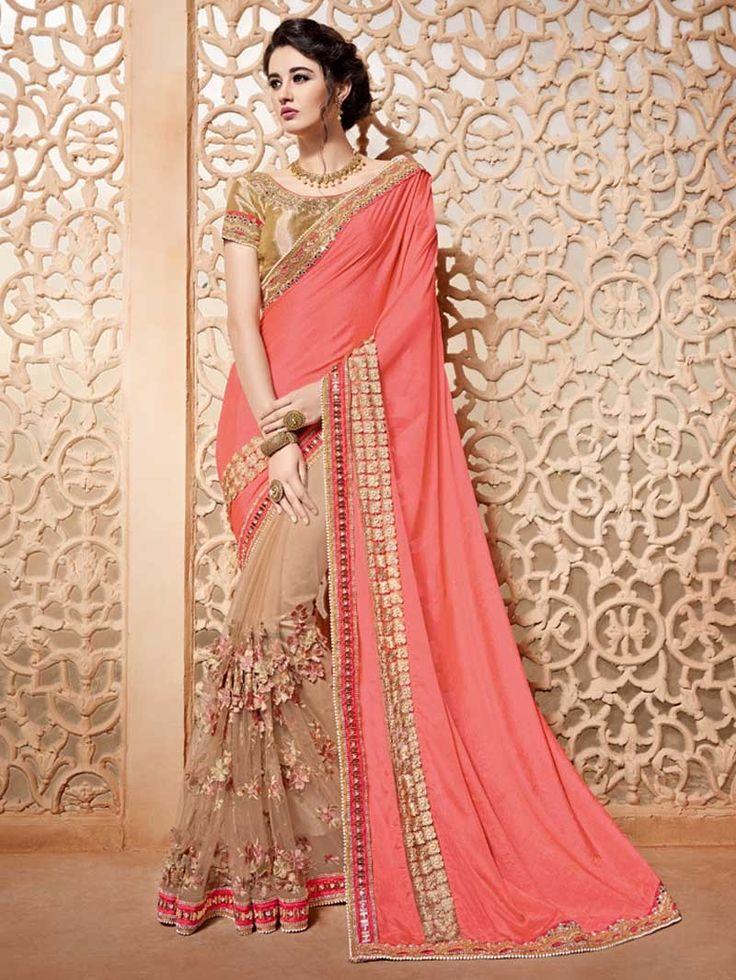 Salmon+Beige+Color+Bollywood+Designer+Indian+Pakistani+Bridal+Saree+Online