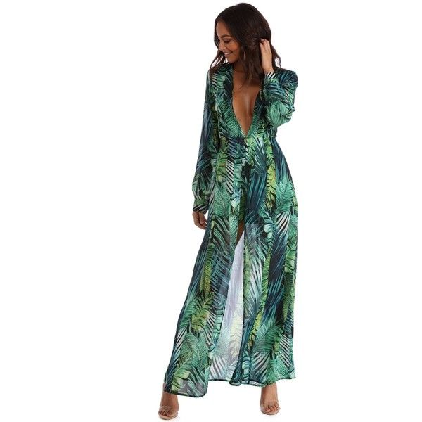 Green Plunging Into Fame Shmaxi ($47) ❤ liked on Polyvore featuring dresses, white dress, long chiffon dress, white chiffon maxi skirt, long slit skirt and long chiffon maxi skirt