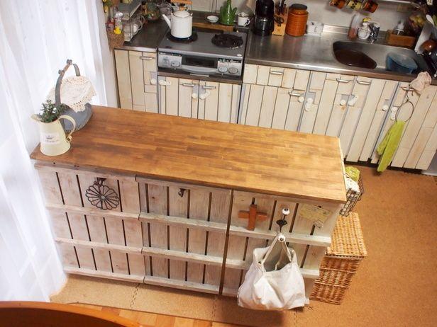 キッチンカウンター diy | すのこでカラーボックスの表面 ...