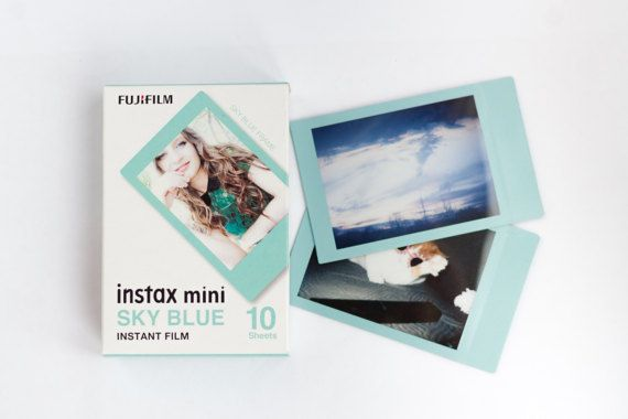 """Fujifilm Instax mini film with Sky Blue frame.  - Includes 10-photos for Instax Mini 8 / 90 / 50s / 25 - 2"""" x 3"""" credit card sized images in ISO 800. - Instax film ensures sharp, clear reproduction, vivid color and natural skin tones. - ISO 800/30°"""