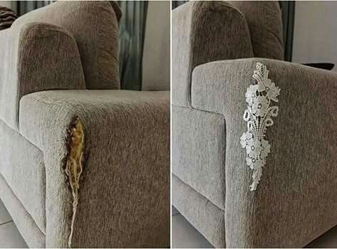 """Ways to fix a torn couch. On a """"tailored"""" style piece like this, I would opt for leather or suede patches (like the ones you can buy pre-cut & holes pre-punched for elbows on jackets) -- if not large enough, then buy a small amount & you'll have plenty to cut whatever size you need & even do both sides, just to make it even!"""