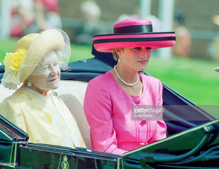 Diana, Princess of Wales rides with Queen Elizabeth, the Queen Mother on Day 2 of Royal Ascot, June 17, 1992.