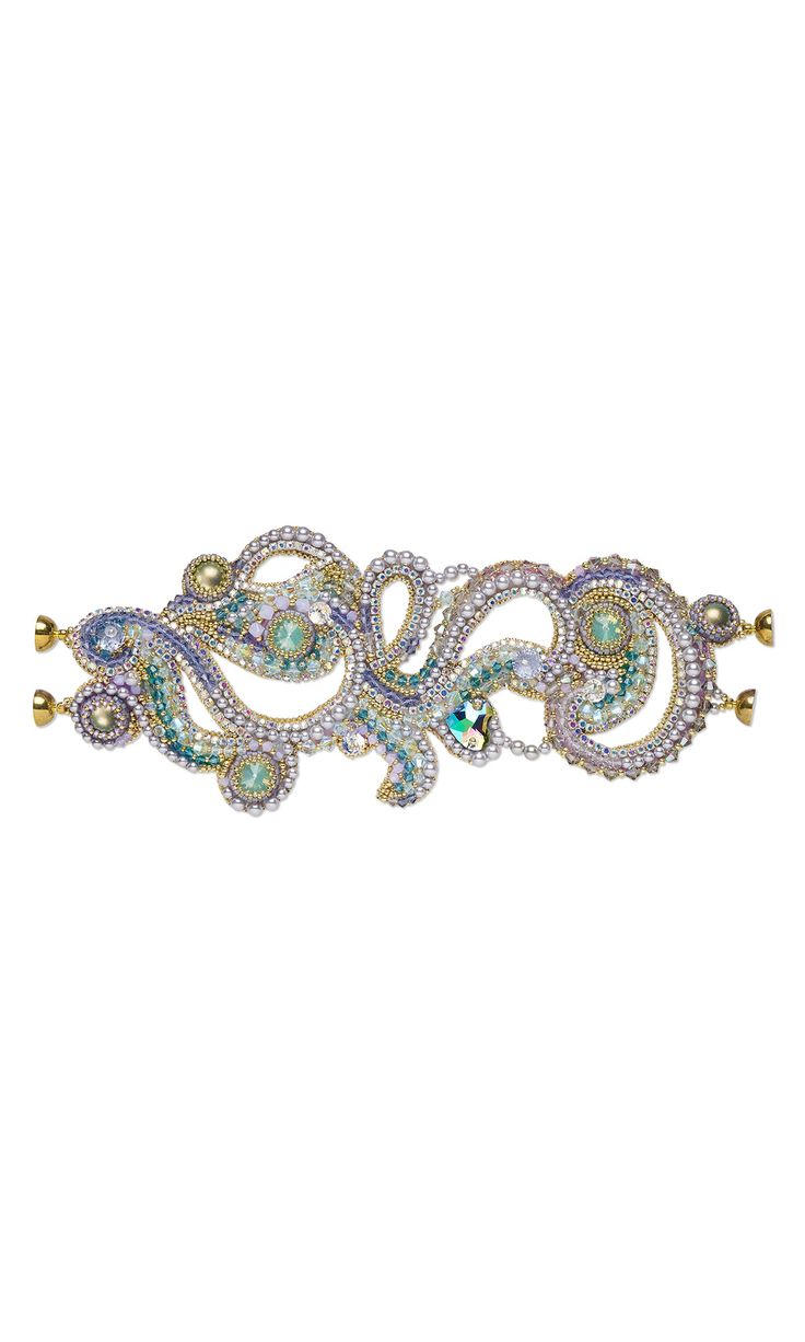 Jewelry Design - Bracelet Embroidered with Swarovski Crystal and Cupchain - Fire Mountain Gems and Beads