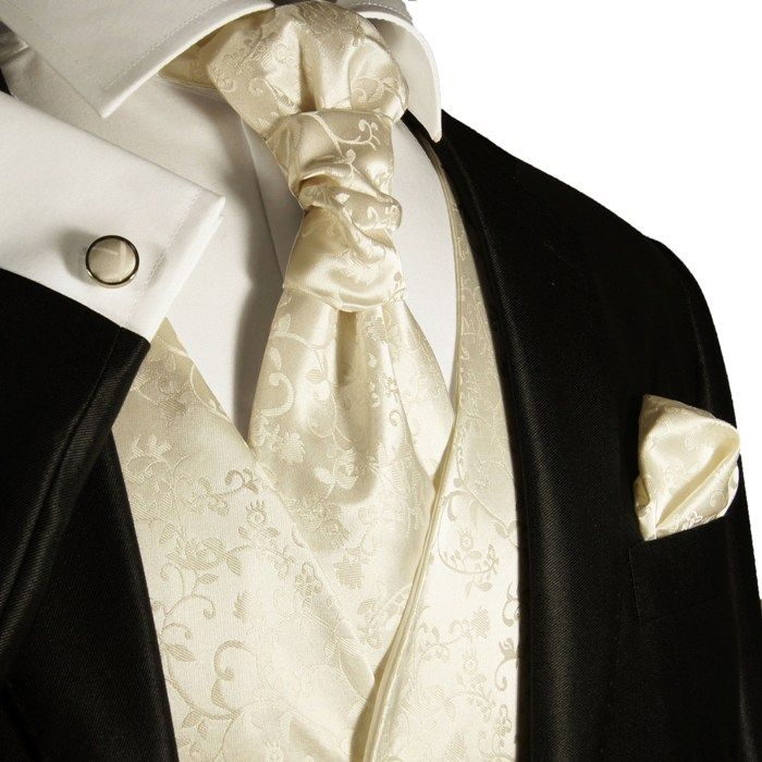 Ivory Mens Tuxedo Wedding Vest by Paul Malone (V41). Interesting color switch-up and loving the different way to tie the tie!