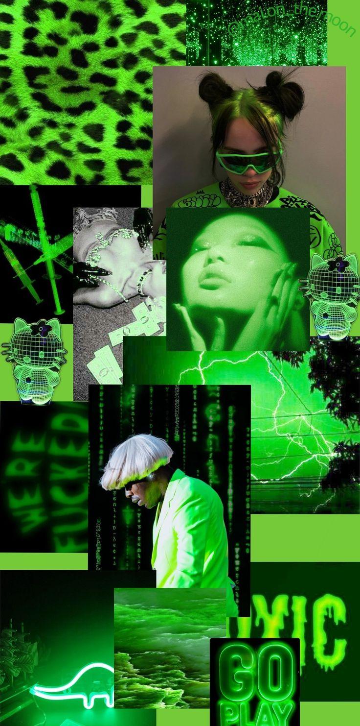 Neon green aesthetic wallpaper in 2020 | Dark green ...