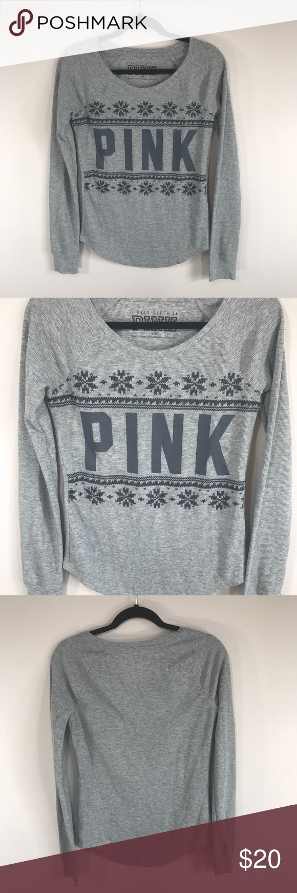 """Victoria's Secret PINK Spell Out Thermal Sleep Top In excellent used condition. Size M, true to size. Please refer to measurements to ensure a proper fit! Pit to pit: 17"""" Length: 24"""" Sleeve: 29"""" PINK Victoria's Secret Tops Tees - Long Sleeve"""