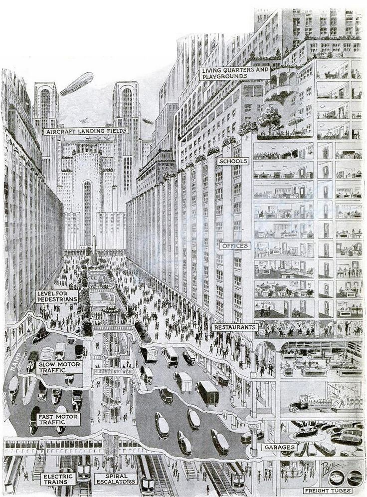 The Wonder City You May Live to See Buildings Half -Mile High and 4-Deck Streets May Solve Congestion Problems.  The amazing pictures on these two pages were drawn from suggestions made by Harvey W. Corbett, president of the Architectural League of New York.  'hey are a vivid, graphic expression of Mr. Corbett's mental conception of the typical American city of the future—the place in which most of us will be living in a quarter of a century or so.