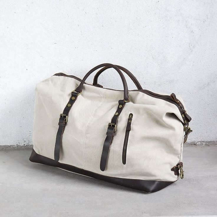 Convenient Chic Leather Canvas White Tote Bag - Buykud