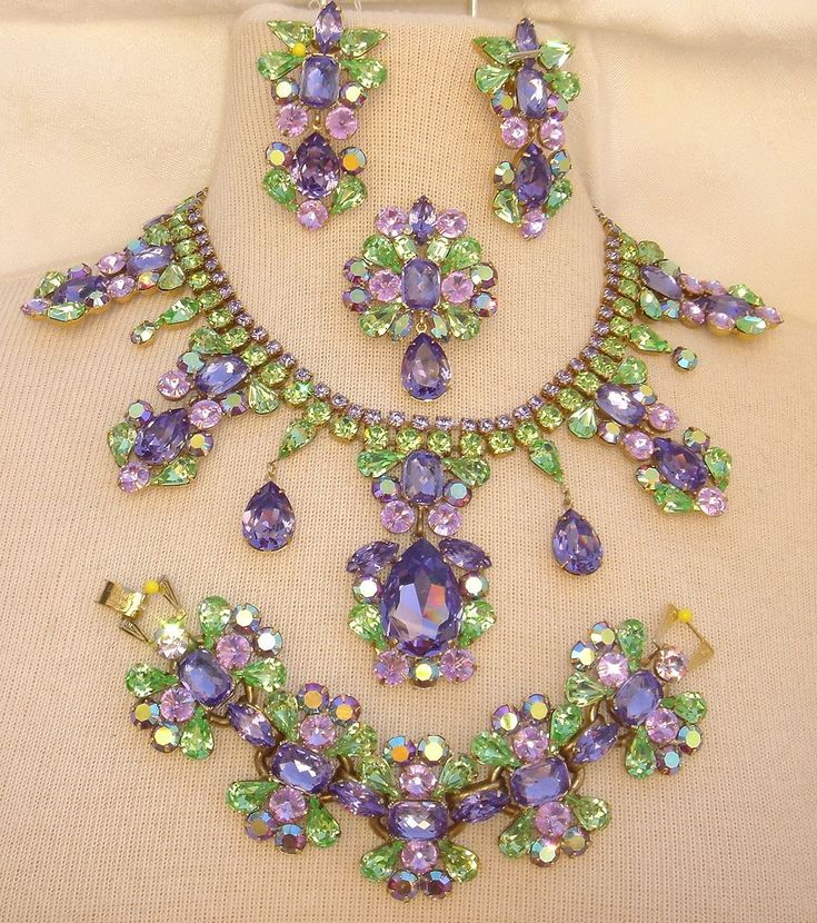 Parure: Gorgeous Swarovski Purple and Green Rhinestone Necklace, Bracelet, Pin and Earrings by Elizabeth Cooke.