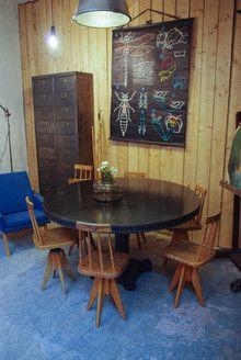 Table industrielle 134 x 76 cm http://www.les-grands-ateliers.com/catalogue/style-produit/industriel.html#!13209_table-ronde-industrielle-2