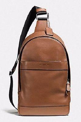 Новый с ценниками Coach Charles гладкая кожа через плечо рюкзак темно-седло F54770