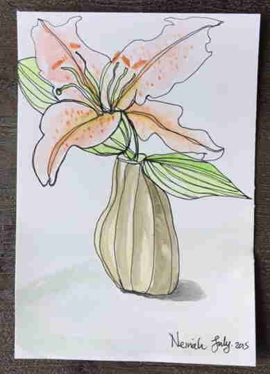 Lesson three, student work. continuous line drawing. from my online Sketching and Watercolor Journal Style class