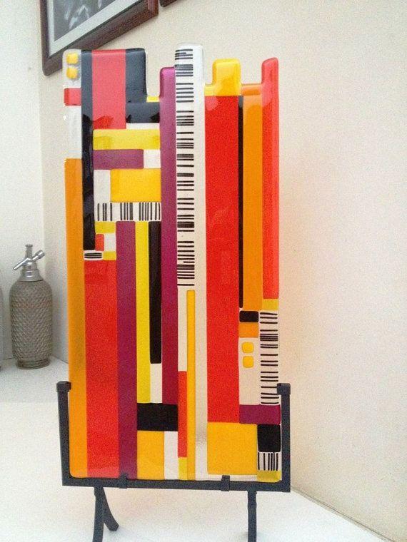 red orange and black glass sculpture measures 9x16 door jensstudio, $269.00
