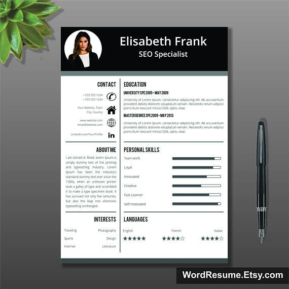 Creative Resume Template Cover Letter Word Curriculum Vitae