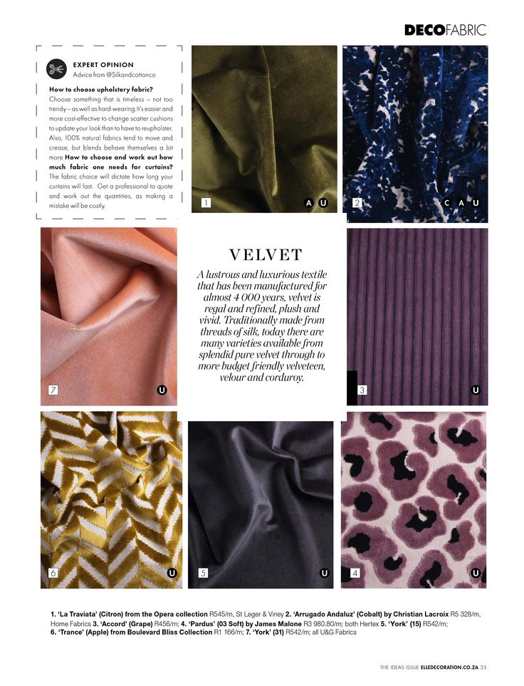 THE FABRIC LIBRARY | Textile add an important element of softness and comfort to your home. #IdeasIssue #Textile #Fabric #Velvet Download your free version here http://elledecoration.co.za/2016-fabric-library-download-free/