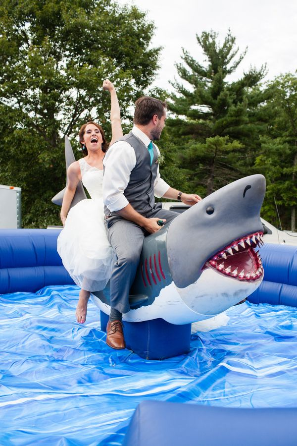 I now want to have a shark themed party, so I can have a mechanical shark. Wedding schmedding, this is just fun :) by Erika Follansbee Photography @cleverwedding