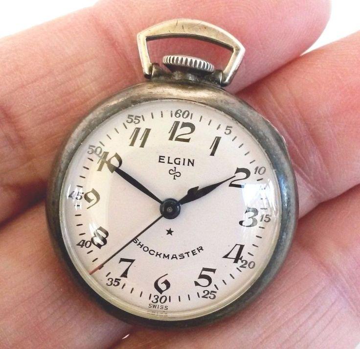 Vtg Elgin 629 wiss Shockmaster Sterling Ladies Pocket Watch 17Jewels #Elgin