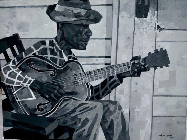 Vintage Blues - Acrylic on canvas