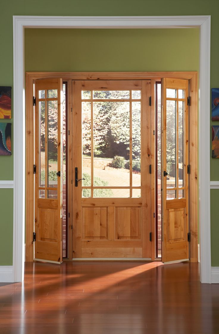 Ashworth r entry door with venting sidelites by woodgrain for Sliding french doors with sidelights