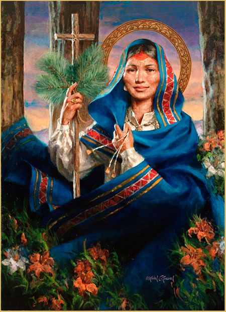 Saint-Kateri, the first Native American Indian to ever be proposed for sainthood. St. Kateri Tekakwitha was beatified by Pope John Paul II in 1980 and canonized a saint in October 2012 by Pope Benedict XVI during the opening of the Year of Faith. Her feast day is July 14 and she is the patron saint of the environment, ecology, and orphan