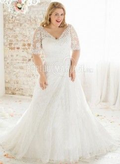 Bustier robe du mariage grande taille dentelle tulle manches courtes