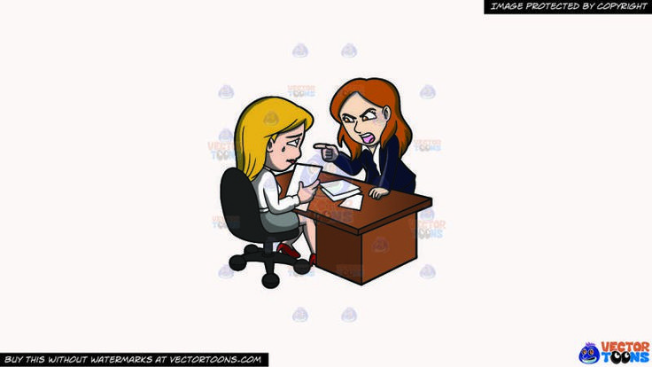 A Female Boss Scolding Her Assistant At Work On A Solid White Smoke F7f4f3 Background:   A woman with light brown hair wearing a black skirt suit and white dress shirt parts her lips to scream in anger while raising her right index finger to point at a crying woman with blonde hair holding a bond paper in her right hand and wearing a white blouse gray skirt and red heels sitting on a black swivel chair behind the brown desk with scattered papers