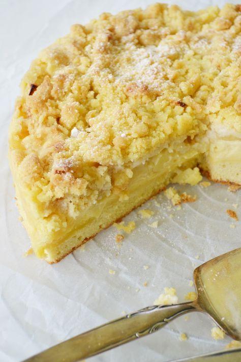 unglaublich lecker - Apfel-Streusel Kuchen mit Puddingcreme