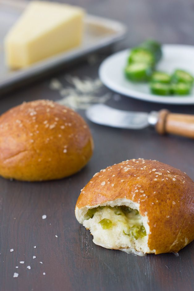 Cheese and Jalapeño Stuffed Pretzel Rolls ... I love everything about the title of this snack!!