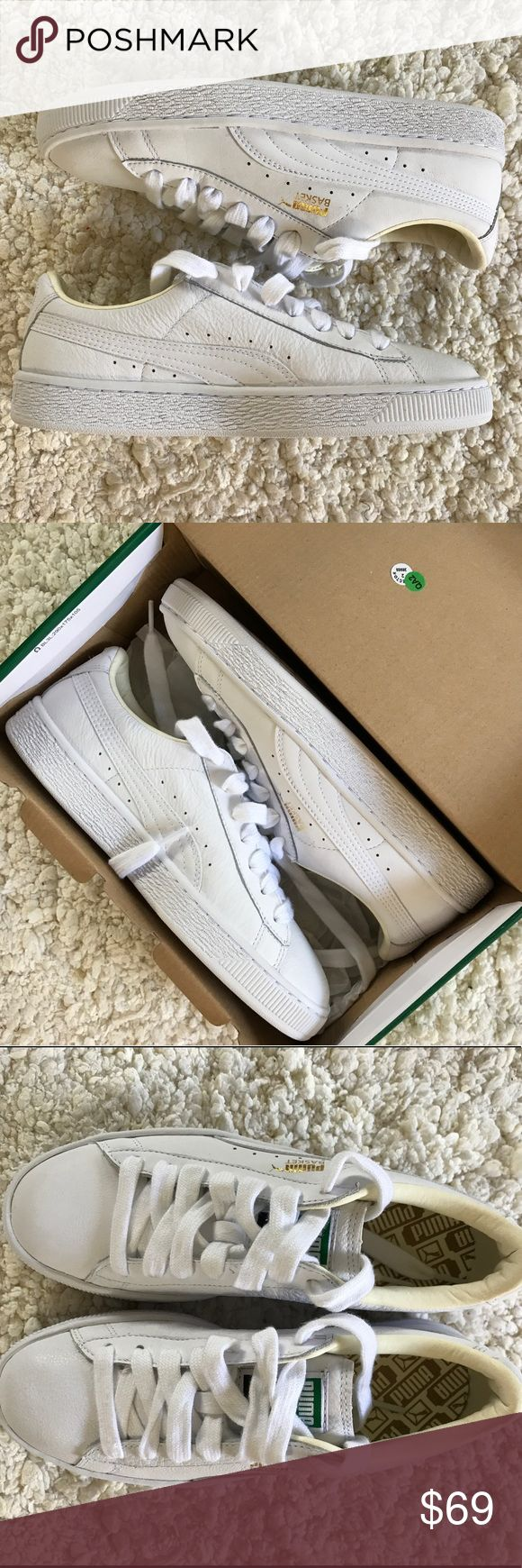 Puma Basket Sneakers Puma Basket Classic White Sneakers. New. Fits size 8/8.5  (Let me know if you'd like me to include the box) Puma Shoes Sneakers