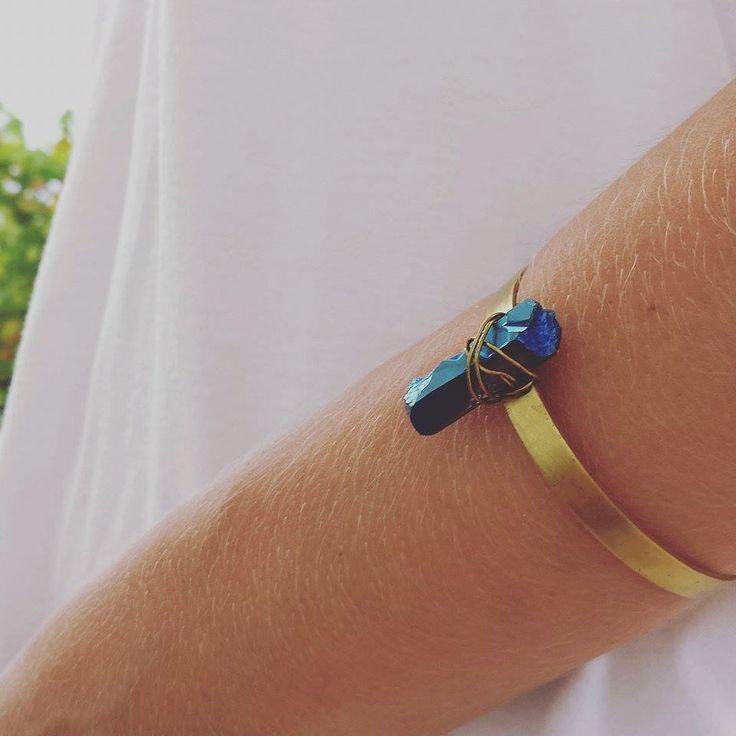 Raw Brass Cuff, Blue Titanium Quartz Crystal, Tribal Bangle, Bohemian Bracelet, Valentine's Gift by Lycidasjewelry on Etsy