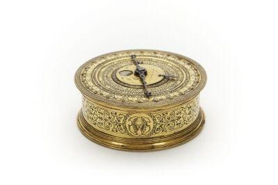 Kedjedrivet astronomiskt ur, visande månens faser, datum, solens ställning i zodiaken, månad, veckodag, timme och minut. Tillverkat av Peter Grundel under 1500-talets sista fjärdedel