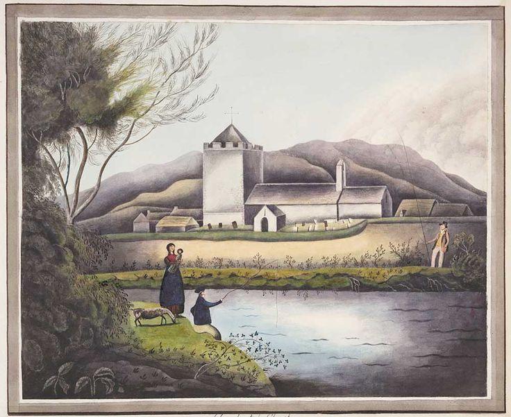 'Llanrhystyd Church',  yn ôl pob tebyg gan yr arlunydd naïf o Aberystwyth a elwir  'A Welsh Primitif', c. 1840