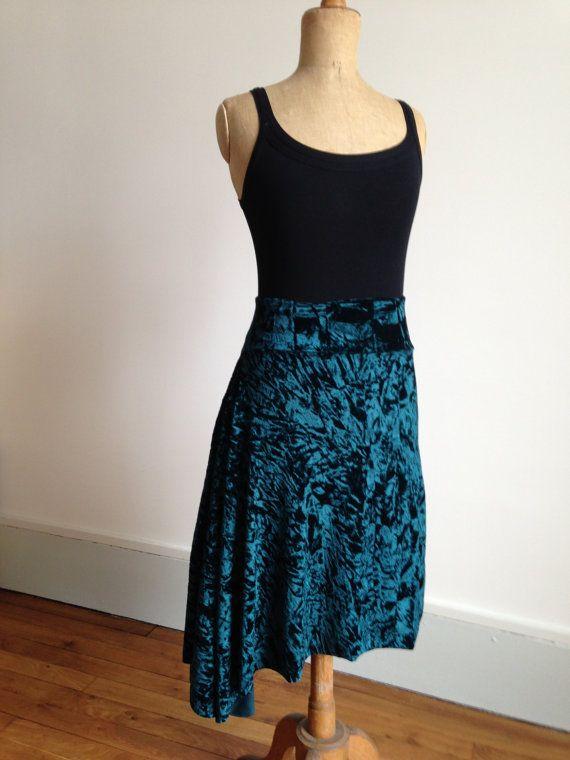 Beautiful asymmetric velvet tango skirt rich green by BellaTango