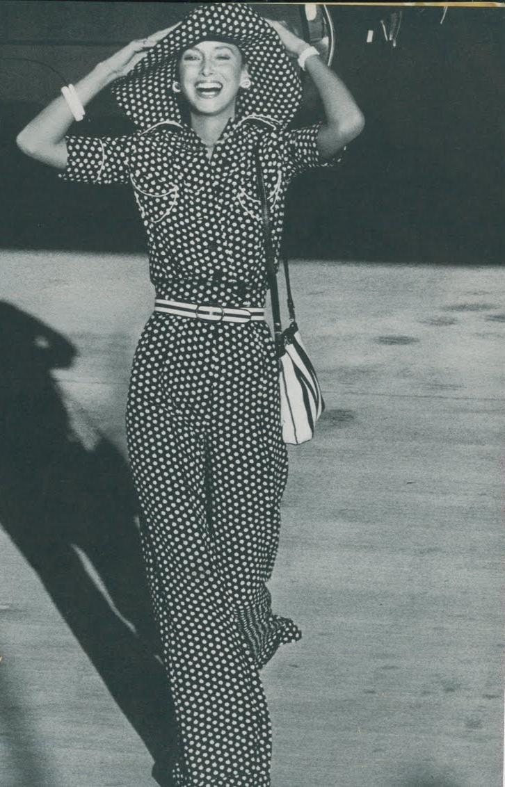 Karen Graham shot for Vogue in breezy polka dots.