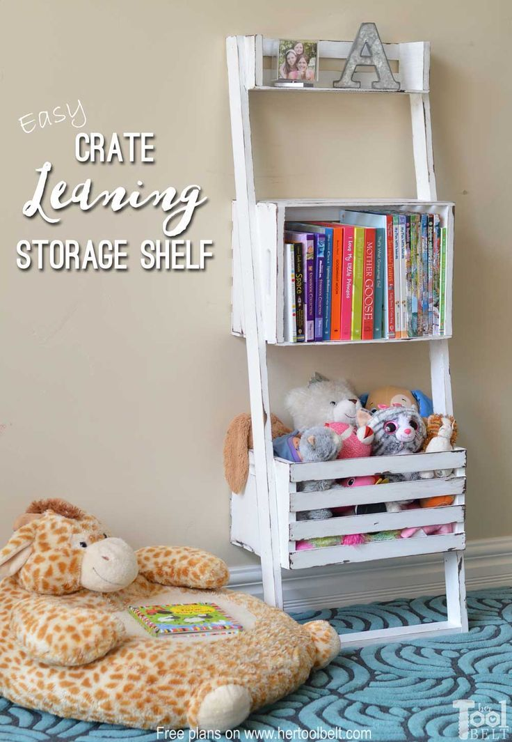 easy crate leaning shelf and storage diy tutorials leaning shelf rh pinterest com