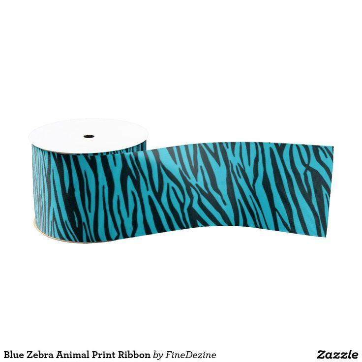 Blue Zebra Animal Print Ribbon
