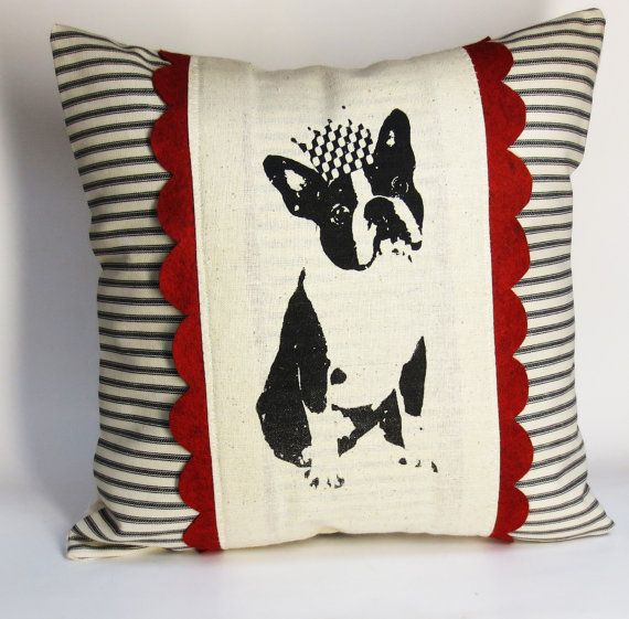 Boston Terrier Screen Print Pillow - French Bull Dog Cushion Cover - Frenchie Hand Screen Print on Etsy, $34.00