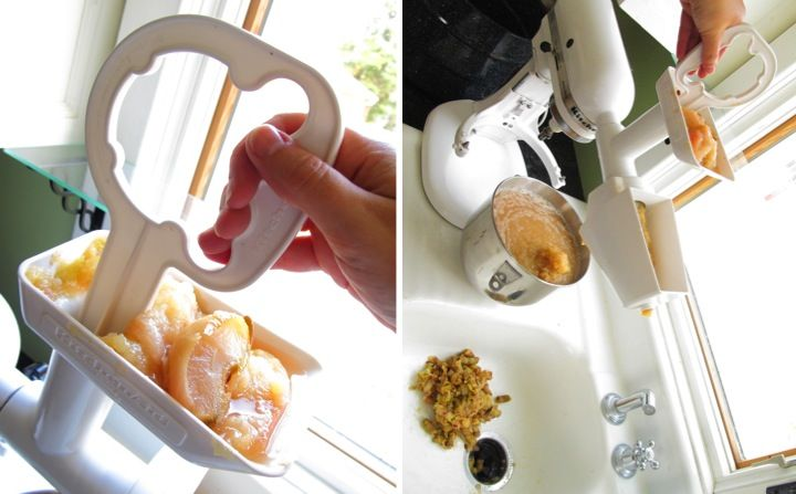Making homemade applesauce using KitchenAid with Food Grinder and Strainer Attachments