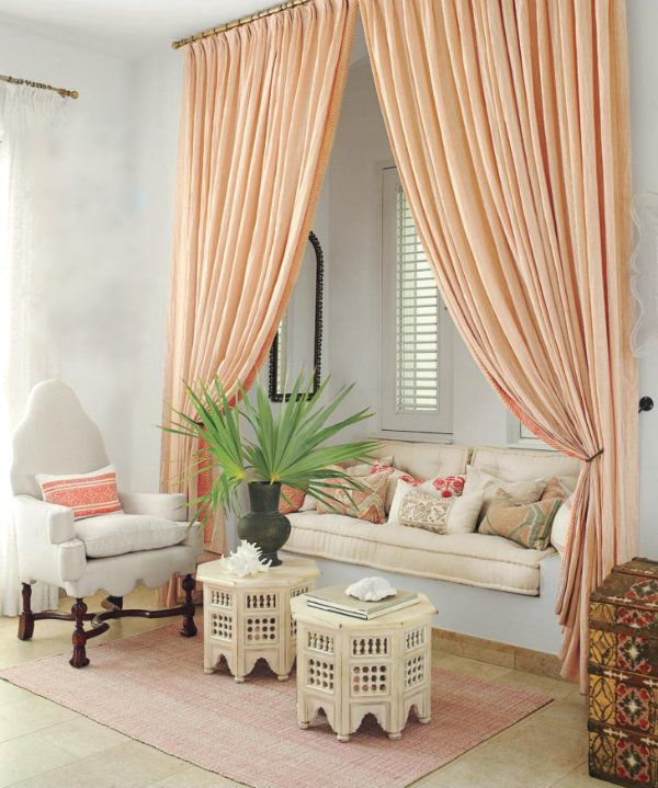 This Lounge Area In The Pink Bedroom Is Framed By Soft Linen Curtains Authentic