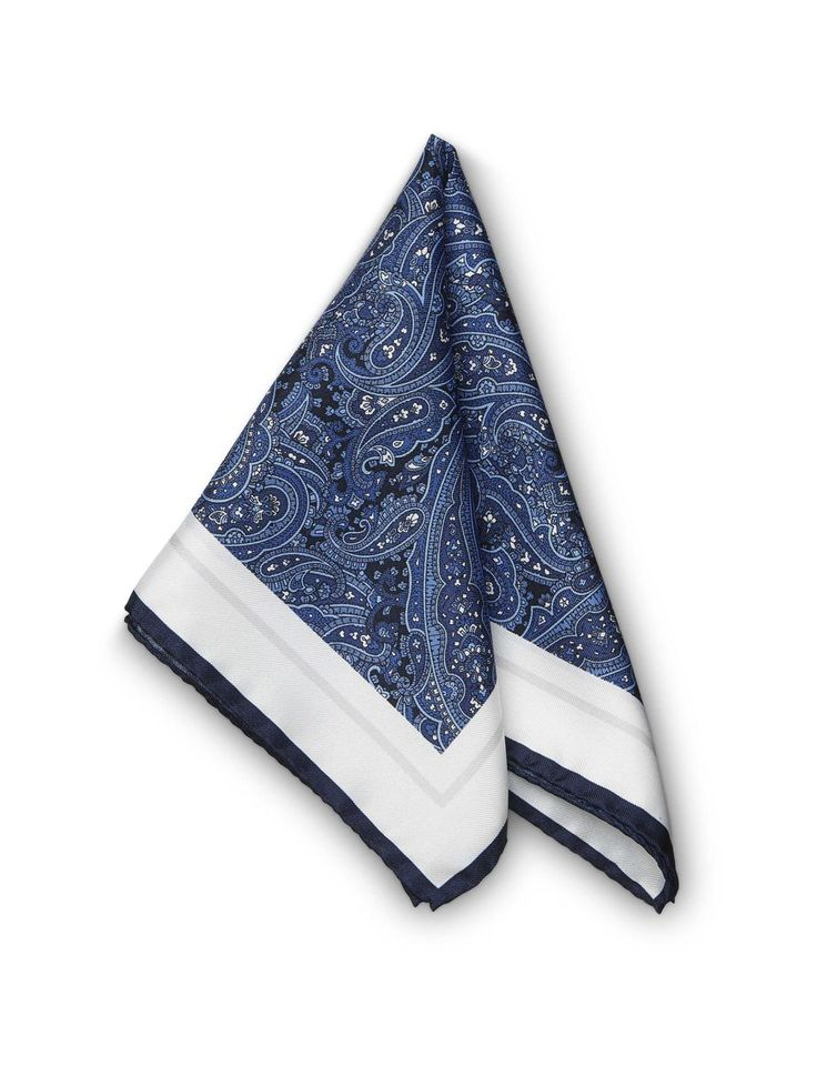 Jaan hankerchief-Men's square handkerchief in silk twill. Features printed paisley pattern with contrast frame and Tiger of Sweden logo. Size: 33 x 33 cm. Made in Italy