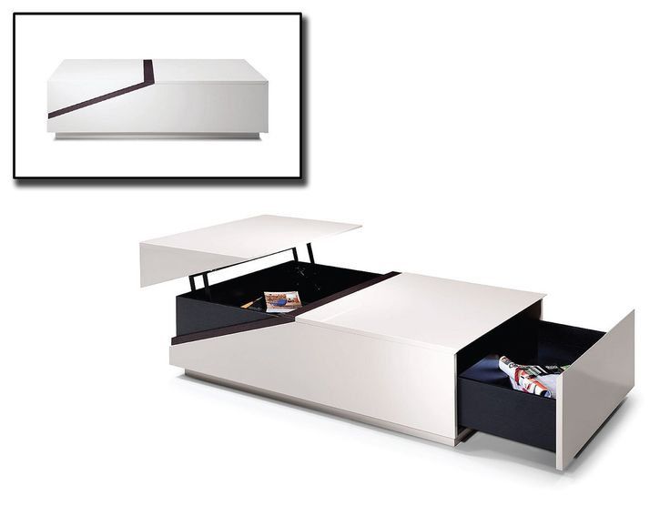 Modern Rectangular White Coffee Table With Drawer And Storage Keeper.