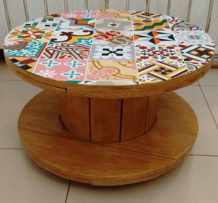 mesa carretel madeira - Pesquisa Google