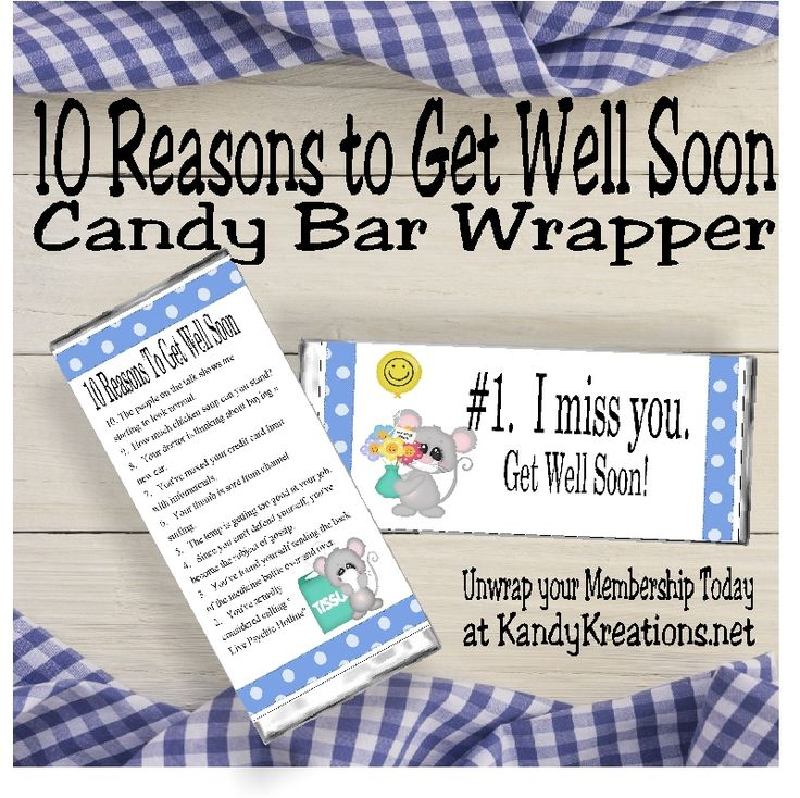 It's that time of year again.  We are having parties, get togethers with friends, hay rides, Thanksgiving dinners, and sickness.  It's the start of cold and flu season.  Wish your friends a speedy recovery with this fun get well soon candy bar wrapper printable.  This candy bar wrapper has 10 reasons your loved ones should get better soon.  Such as:  #10.  The people on the talk shows are starting to look normal. #6.  Your thumb is sore from channel surfing #2.   You've actually considered…