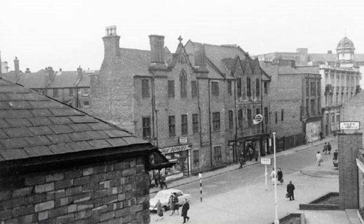 BroadMarsh, Nottingham, 1967 Taken from 43 Broad Marsh, St Peter's Church rooms opposite.