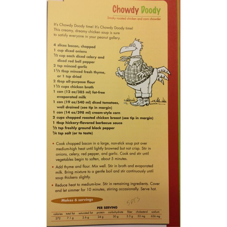 Chowdy Doody Chicken Corn Chowder from The Looney Spoons Collection! Delicious :)