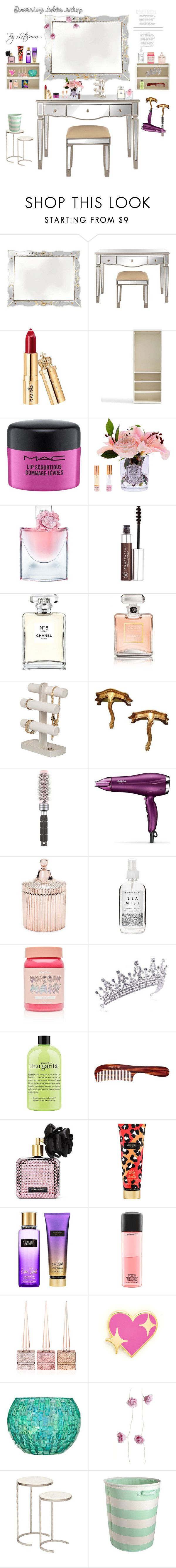 """""""dressing table setup"""" by lotesmm ❤ liked on Polyvore featuring interior, interiors, interior design, home, home decor, interior decorating, Pottery Barn, MAC Cosmetics, Côte Noire and Lancôme"""
