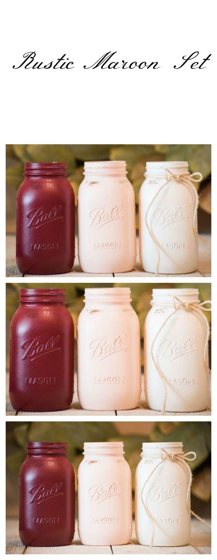 Mason Jar Wedding Centerpiece. Rustic Maroon and Peach Decor. Vase. Farmhouse Rustic Chic. Modern Design. Katiebluechic