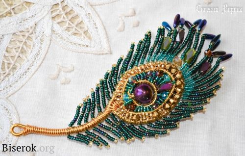 Amazing Wire Wrapped Peacock Feather Brooch Tutorial - The Beading Gem's Journal