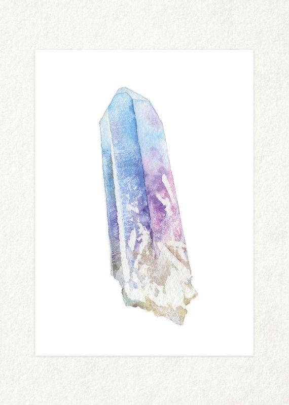 Punto de cuarzo arco iris Aura  5 x 7 Acuarela por songdancedesign