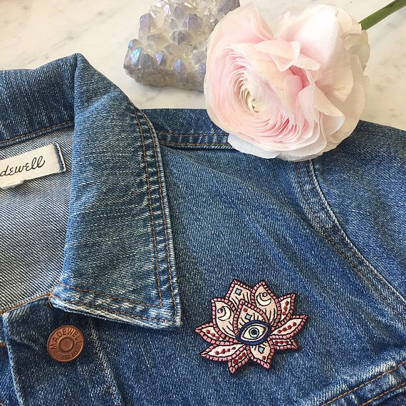 Lotus - Evil Eye Patch , Iron On, Applique, Embroidered Patches, Applique, Wildflower + Co. ………………………………….………………………………….…………………….. The lotus symbolizes persevering & rising from a dark place into one of light & beauty. In case that isn't magical enough, we have intricately detailed our pink lotus patch to include an evil eye & crescent moons. Gorgeous, boho chic color palette in sky blue, blush pink, lilac, navy & burgundy. Use this patch for an instant update on just about an...